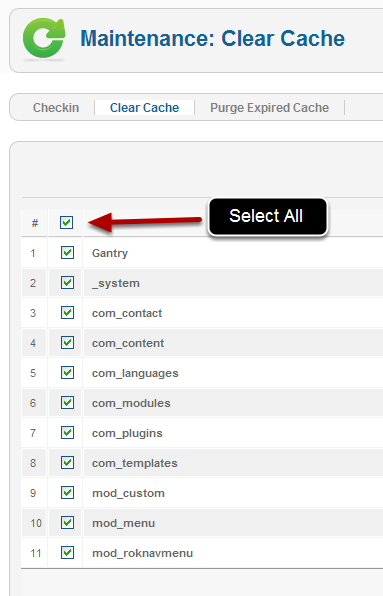 How to clear cache in Joomla 3