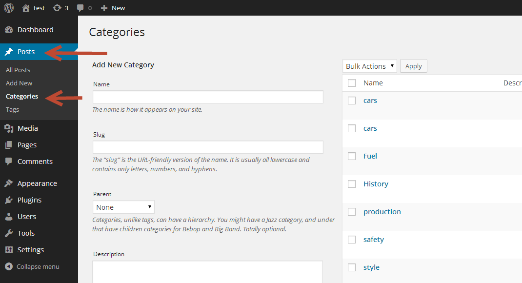 Categories  in WordPress