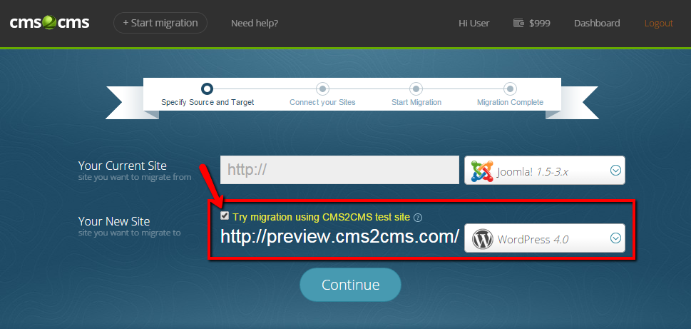 Migration with CMS2CMS Preview