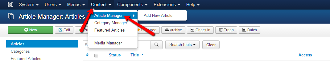Content pages in Joomla
