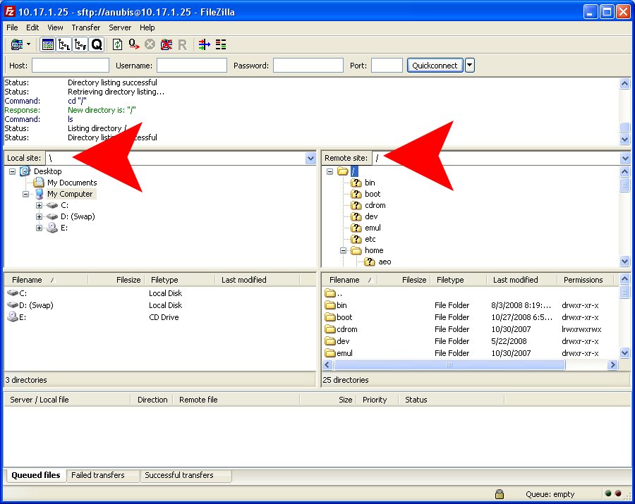 connection-with-filezilla